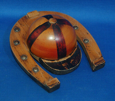 A super Victorian Scottish Mauchline ware satinwood painted jockey cap inkwell