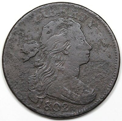 1802 Draped Bust Large Cent, 1/000 Fraction, VG-F detail