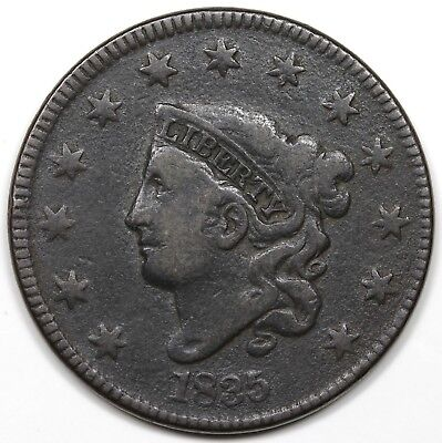 1835 Coronet Head Large Cent, Head of '34, Large 8, F-VF detail