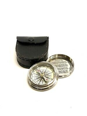 Robert Frost Poem Compass-Pocket Compass w Leather Case (Stanley London) Nickel