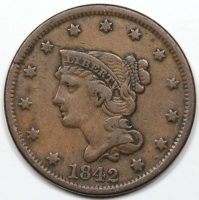 1842 Braided Hair Large Cent, Large Date, VF