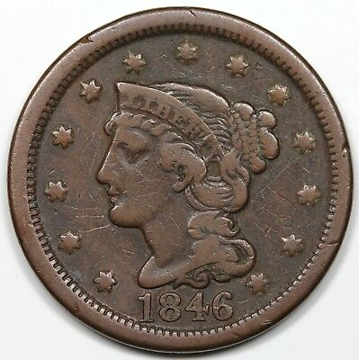 1846 Braided Hair Large Cent, Tall Date, F-VF detail