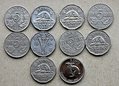 Lot of 10 different Dates, Canada 5 Cents,1923-1967