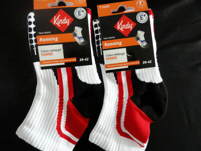 Lot 2 Paires de chaussettes running KINDY Blanc/Rouge Taille 39/42