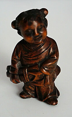 Original CARVED WOOD GIRL SCHOLAR Japanese Meiji NETSUKE C1900