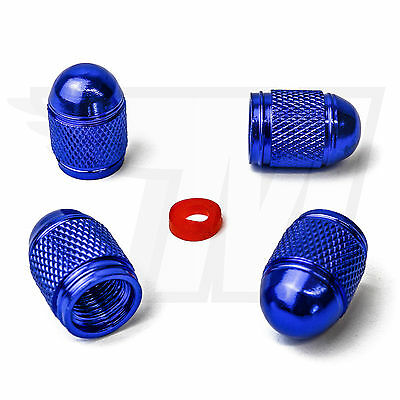 4x Dust Cap Made of Metal for Car Tyres, Bicycle Tyre Bullet in Blue