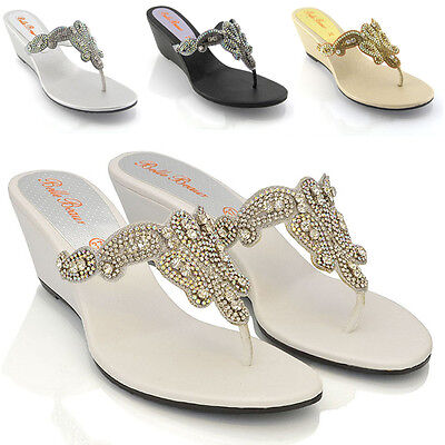 f77d852c6d48 Womens Low Wedge Diamante Toe Post Ladies Sparkly Dressy Party Sandals Size  3-9