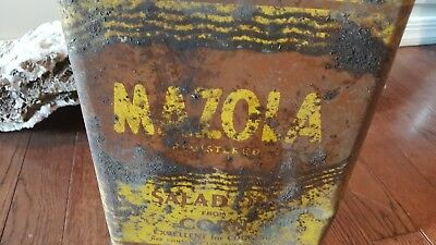 Vintage Old Mazola Salad Oil from Corn Metal Tin Can Display Sign Rusty Treasure