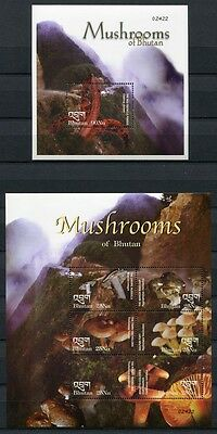 Bhutan 2002 Pilze Funghi Mushrooms Pflanzen Plants 2331-2336 + Block 455 ** MNH