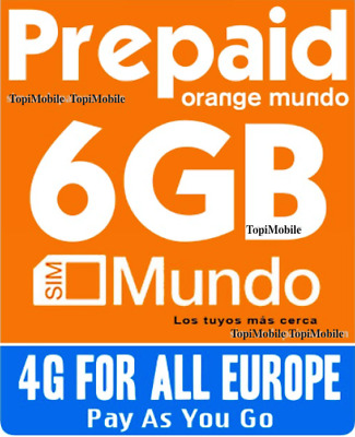 Tarjeta SIM/Micro/Nano de Prepago ORANGE MUNDO. ROAMING EUROPE !6GB INTERNET