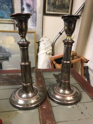 Silver plated adjustable candlesticks