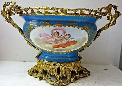 Very Beautiful Large Sevres Centrepiece With Gilt Bronze Mounts - Extremely Rare
