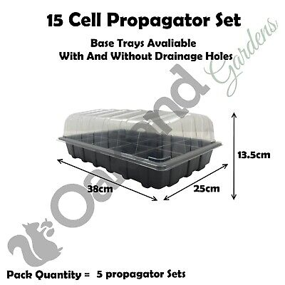 5 X Full Size Propagator Set, Lids Seed Trays + 15 Cell Inserts With or No Holes