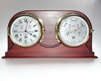 Sewills Of Liverpool, Ships Cased Clock And Barometer, Key Wind.