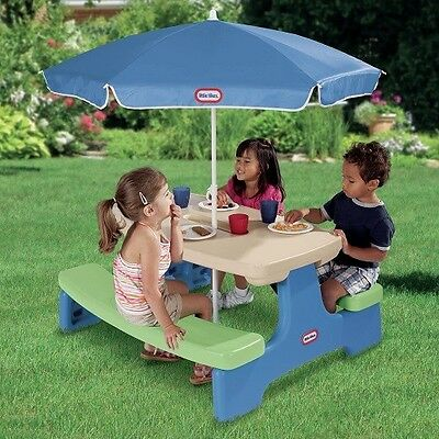 Kids Picnic Table Outdoor Children Play Bench Furniture Plastic Patio Umbrella