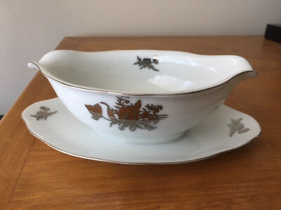 Seyei Fine China, Gravy Boat with attached bottom Silver Rose trim 397 Very Nice
