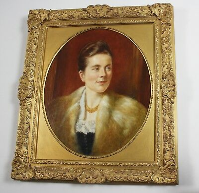 J. Lamont Brodie - Lady In Oval, 1890 - Oil Portrait Painting - Lovely Antique