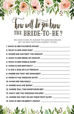 Hen Night Party Pk Of 10 How Well Do You Know The Bride