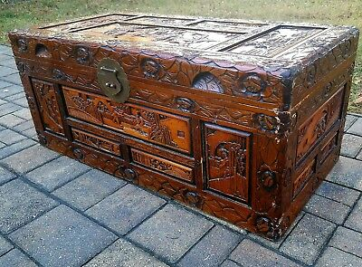 Vintage chinese carved camphor wood trunk chest brass w tray asian coffee table