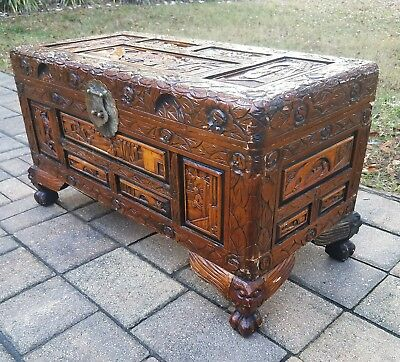 Vintage Asian carved camphor wood trunk chest cofffee table brass footed chinese