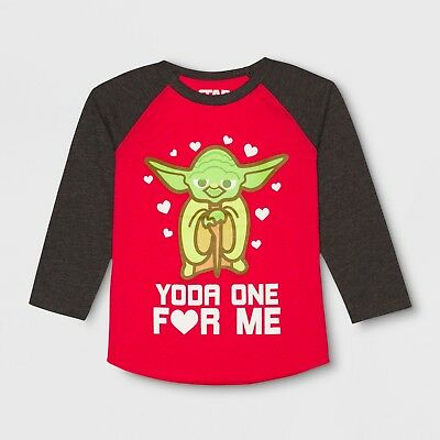 Toddler Boys Star Wars Valentines Raglan Yoda One Long Sleeve Shirt/Top~Red/Grey