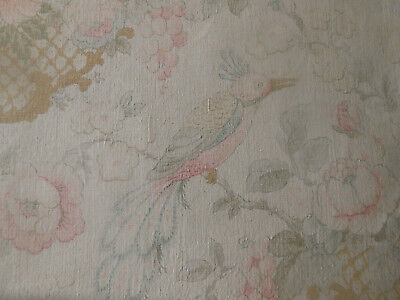 Antique English Shabby Faded Bird Roses Floral Cartouche Linen Fabric ~Pink Blue