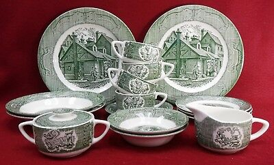 ROYAL (USA) china OLD CURIOSITY SHOP green pattern 21-piece LOT Service for 2+