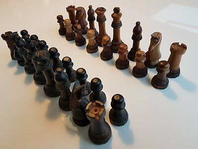 Antique / Vintage  Hand Carved Wood African Chess Set
