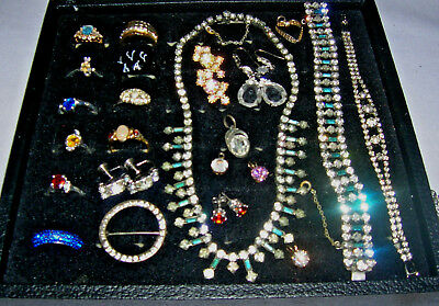 Vintage - Modern,325 + Pc,jewelry Lot,rhinestones,enamel,rings,sterling,signed