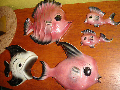 Large Lot of Mostly Ceramicraft Ceramic Wall Fish for Bathroom Mid Century