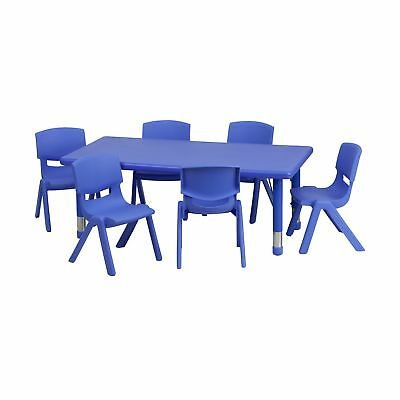 Flash Furniture 24''W x 48''L Rectangular Blue Plastic Height Adjustable Acti...