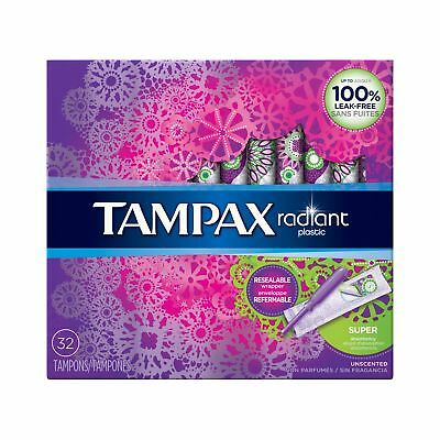 Tampax Radiant Plastic Tampons, Super Absorbency, Unscented, 32 Count - Pack ...