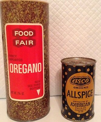 "Vintage metal tin Asco"" allspice & Food Fair"" lg. Shaker oregano $$$"
