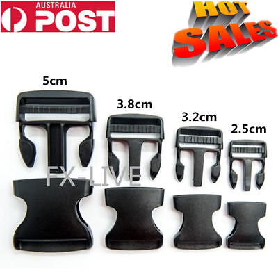 10Pcs Quick Side Release Buckle Clips Black Plastic Backpack Bag Clip Free Post