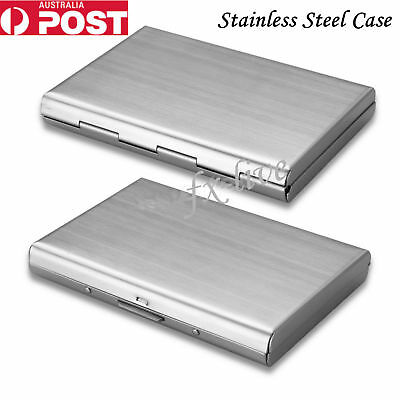 Business Wallet ID Credit Card Holder Anti RFID Scanning Stainless Steel Case Au