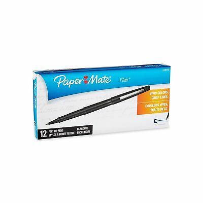 Paper Mate Flair Felt Tip Pens, Medium Point, 12-Count, Black