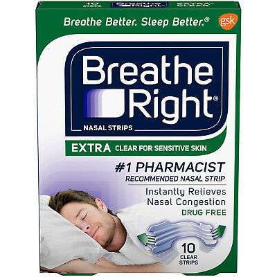 Breathe Right Allergy Nasal Strips, Clear Color, Drug Free, 10 Strips