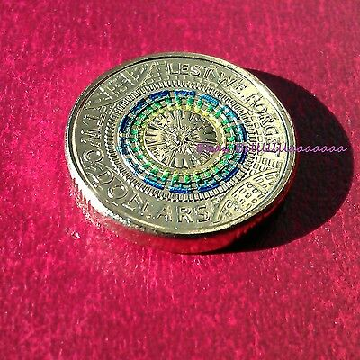 2017 UNC $2 LEST WE FORGET ANZAC COLOURED COIN IN 2x2 HOLDER