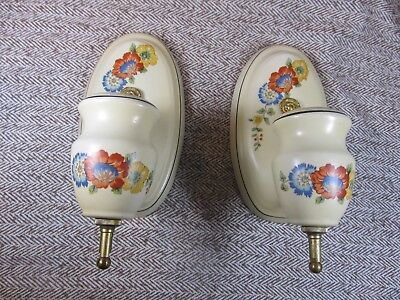 Pair Of Porcelain Flowered Wall Sconces-Vgc