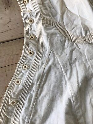 Antique Victorian Cream Simply Embroidered Corset