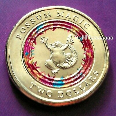 2017 Coloured $2  Coin $2 Possum Magic Woolworths Coin Week 3 Happy Hush