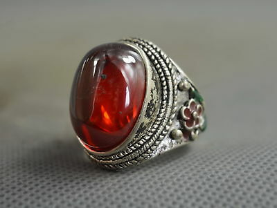 Collectable Handwork Decor Old Miao SIlver Carve Flower Inlay Crystal Lucky Ring