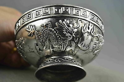 Collectable Handwork Decor Miao Silver Carve Dragon Phoenix Exorcism Lucky Bowl
