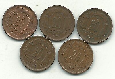 Very Nice Lot 5 Chile 20 Centavos Coins-1942,(2)1943,(2)1949-Jan376