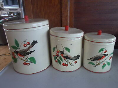 Vtg. MAID OF HONOR Meal Kitchen Canisters Robins & Cherries Set of 3