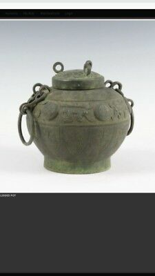 Old Chinese Bronze Lidded Pot Vessel Collectibles w/ Cover