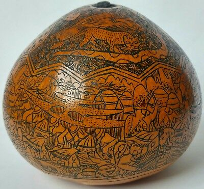 Vintage Myan Style Civilization Highly Detailed Etched Hand Decorated Gourd Or S