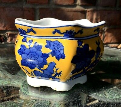 vintage chinese blue and yellow ceramic jardiniere planter