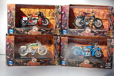 FOUR INDIAN  1/32nd  MODEL MOTORCYCLES