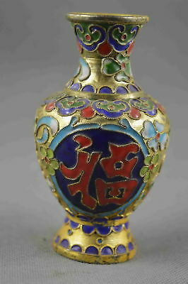 Collectable Handwork Old Cloisonne Carve Flower Special Character Delicate Vase